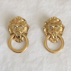 VINTAGE Kenneth Jay Lane Lion Gold Post Earrings